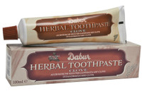 Dabur Clove Tooth Paste 100g  Clove has been used for many years as a strong germicide and antiseptic. Clove is also known for its anaesthetic effect and is ideal to help maintain the health of sensitive teeth and gums.  Suitable for vegetarians, product not tested on animals, no added fluoride, contains no artificial colours or preservatives.  Ingredients: Calcium Carbonate (derived from Chalk), Water, Glycerin, Herbal Extracts, Sodium Lauryl Sulfate, Flavour...  Content: 100g