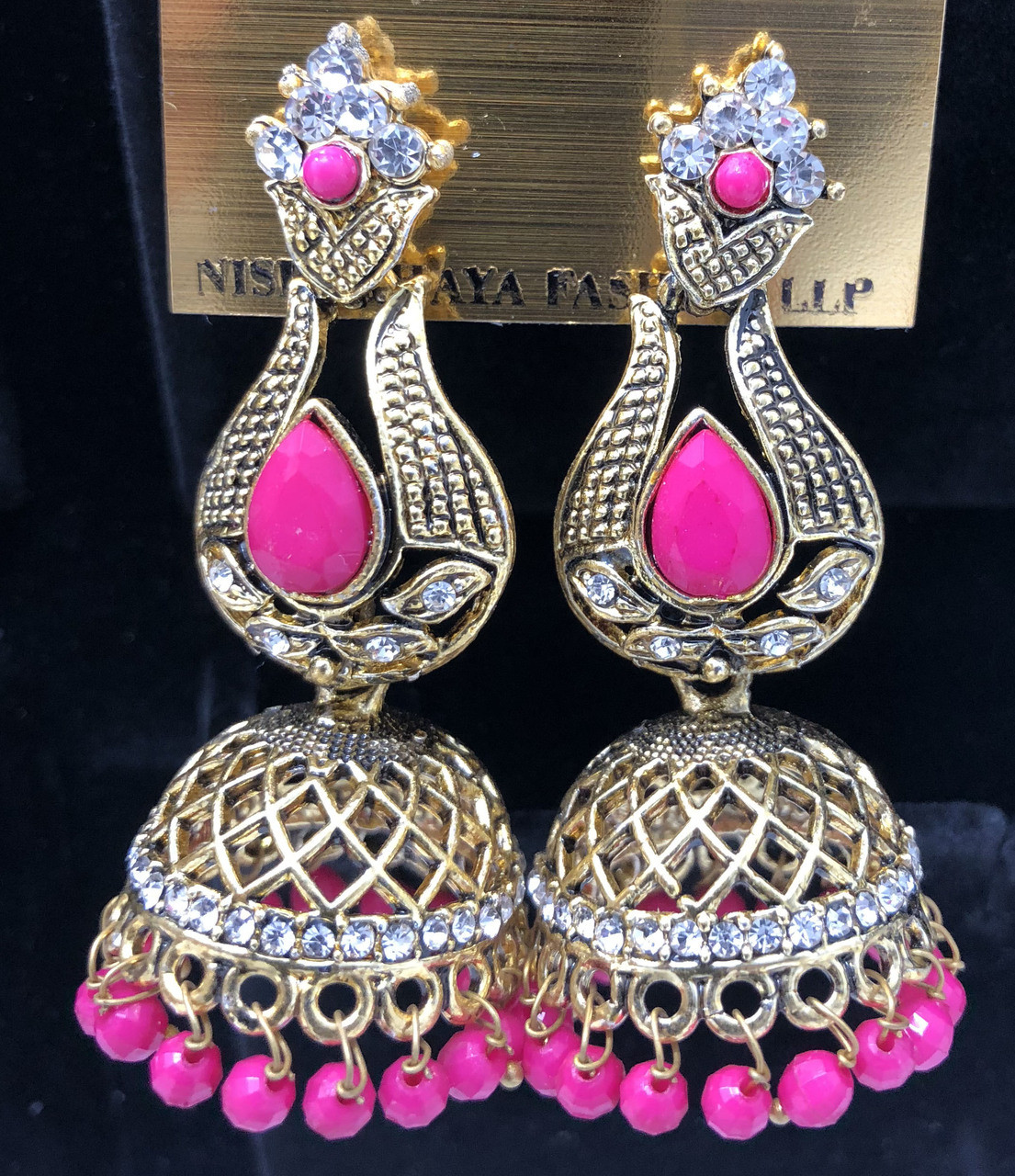 aff9a8d57 Home · Jewelry · Earrings; E2 Magenta Hand Crafted Black Indian Earrings  Set Jhumka. hand crafted Indian earring set. Loading zoom