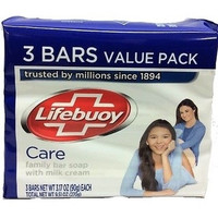 "3 Pack Lifebuoy ""Care"" With Milk Cream 90g Soap Bar"