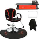 Reclining Styling Chair with Wall Mount Station and Anti-Fatigue Mat w/ Scissor Print