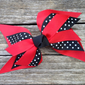 The Glenda Faye Swiss Dot- Red & Black