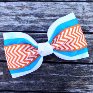 White/Turq/Orange Chevron