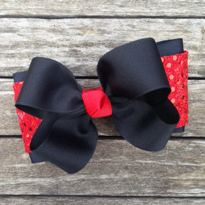 The Payton Large Sequin-Black & Red Sequin  Red Knot  BOWTIE300SE2