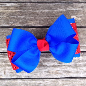 The Payton Large Sequin-Royal & Red Sequin  Red Knot  BOWTIE300SE2