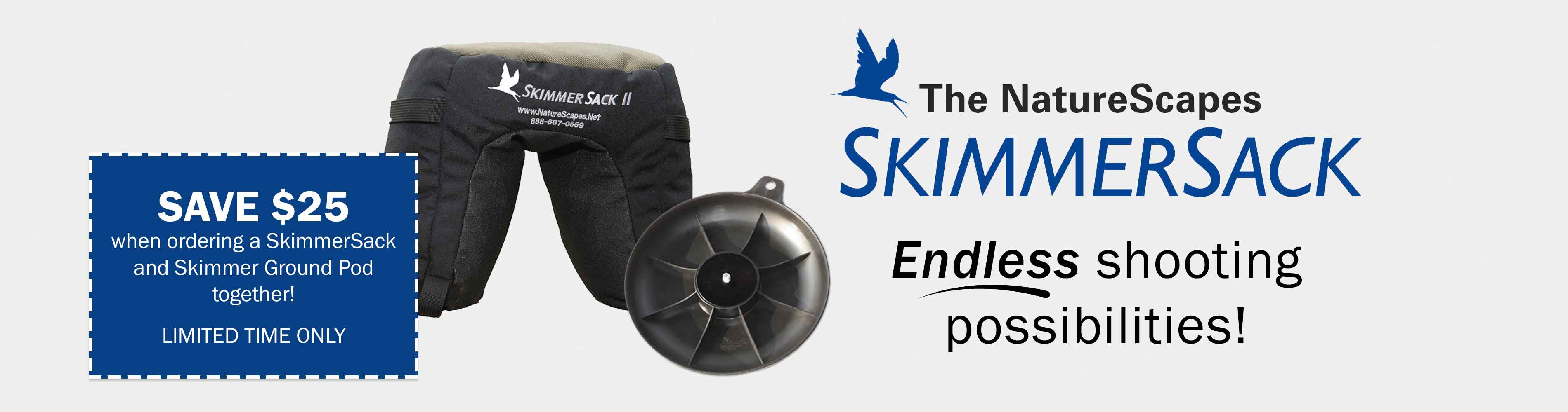 Save $25 when ordering a SkimmerSack and Skimmer Ground Pod together! Limited time only.