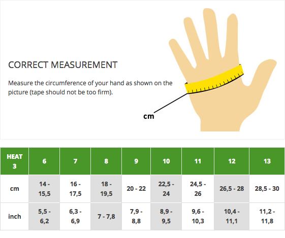 Size chart for HEAT3 Layer System liner and shell for winter photography gloves