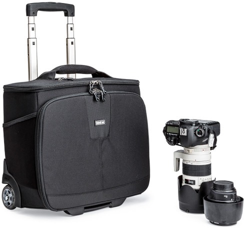 Airport Navigator rolling camera bag pictured with pro DSLR