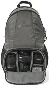 Tradewind Camera Backpack 18 with main DSLR compartment opened (gear not included). Pictured in color Slate.