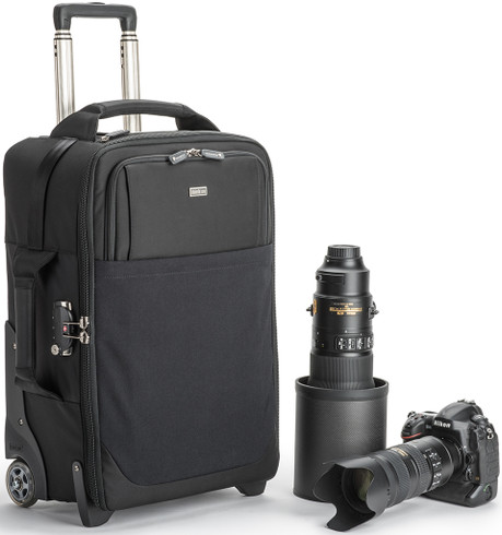 Airport Security v3.0 Rolling Camera Case pictured with gear (not included) and handle extended.