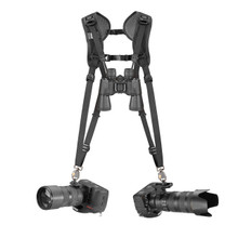 Double Breathe Dual DSLR Camera Harness with two cameras attached (binocular strap is not included)