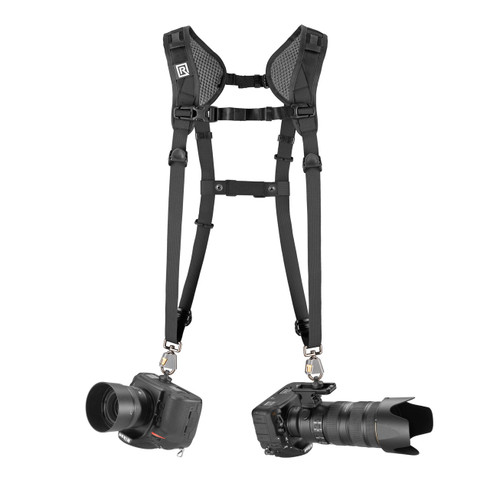 Double Slim Breathe Dual DSLR Camera Harness with cameras attached