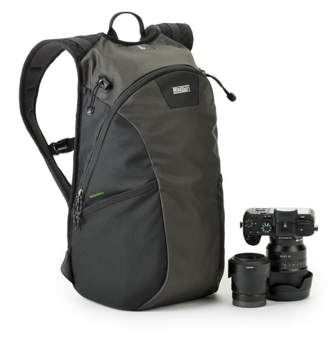 SidePath Backpack is a lightweight camera bag for traveling. Pictured in Charcoal Gray.