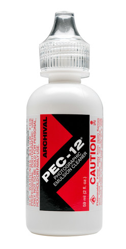 PEC-12 Film Cleaner comes in individual bottles of 2 oz (59.1 ml). Perfect for cleaning most film and print emulsions.