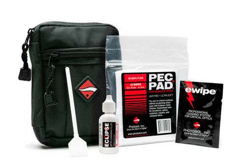 Digital Survival Kit contains 4 Sensor Swab® Ultra swabs (your choice), 10 - PEC PAD®s, 1 packet of Optical Lens Cleaning Wipes - eWipe®s, 1 - 0.5 ounce bottle of Eclipse® Optic Cleaning Fluid, and 1 - zippered travel pouch for storing everything inside.