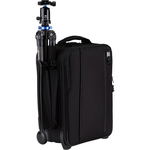 Carry-on camera bag can accommodate a tripod or compact lighting stand in the side pocket