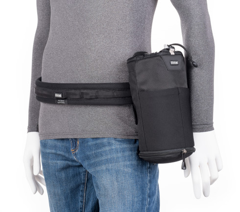 Lens Changer 75 Pop Down v3.0 pictured in use attached to Think Tank Photo belt (belt not included; sold separately).