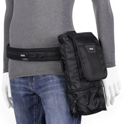 """Skin 75 Pop Down v3.0 attached to belt with bottom """"popped down"""" for extra space (belt not included; sold separately)."""