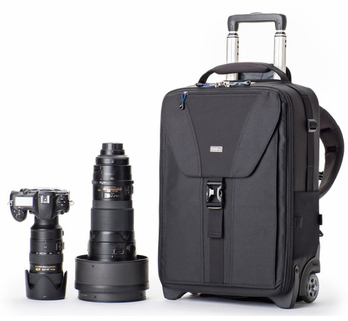 Rolling DSLR Camera Backpack Airport TakeOff v2.0 pictured with camera lenses (gear not included).