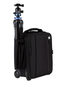 Carry-on camera bag can accommodate a tripod or compact lighting stand in the side pocket(tripod not included)