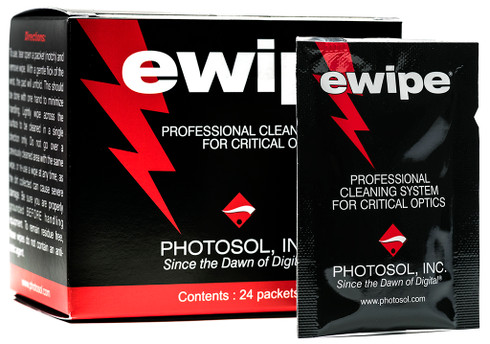 Optical Lens Cleaning Wipes - eWipe® by Photosol are a professional optic cleaner that can be used to clean your camera lenses and other glass optics without scratching or causing harm.
