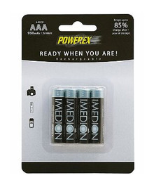 PowerEx 950mAh 4-Pack AAA IMEDION Rechargeable Batteries
