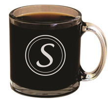 Personalized Glass Coffee Mug with Initial
