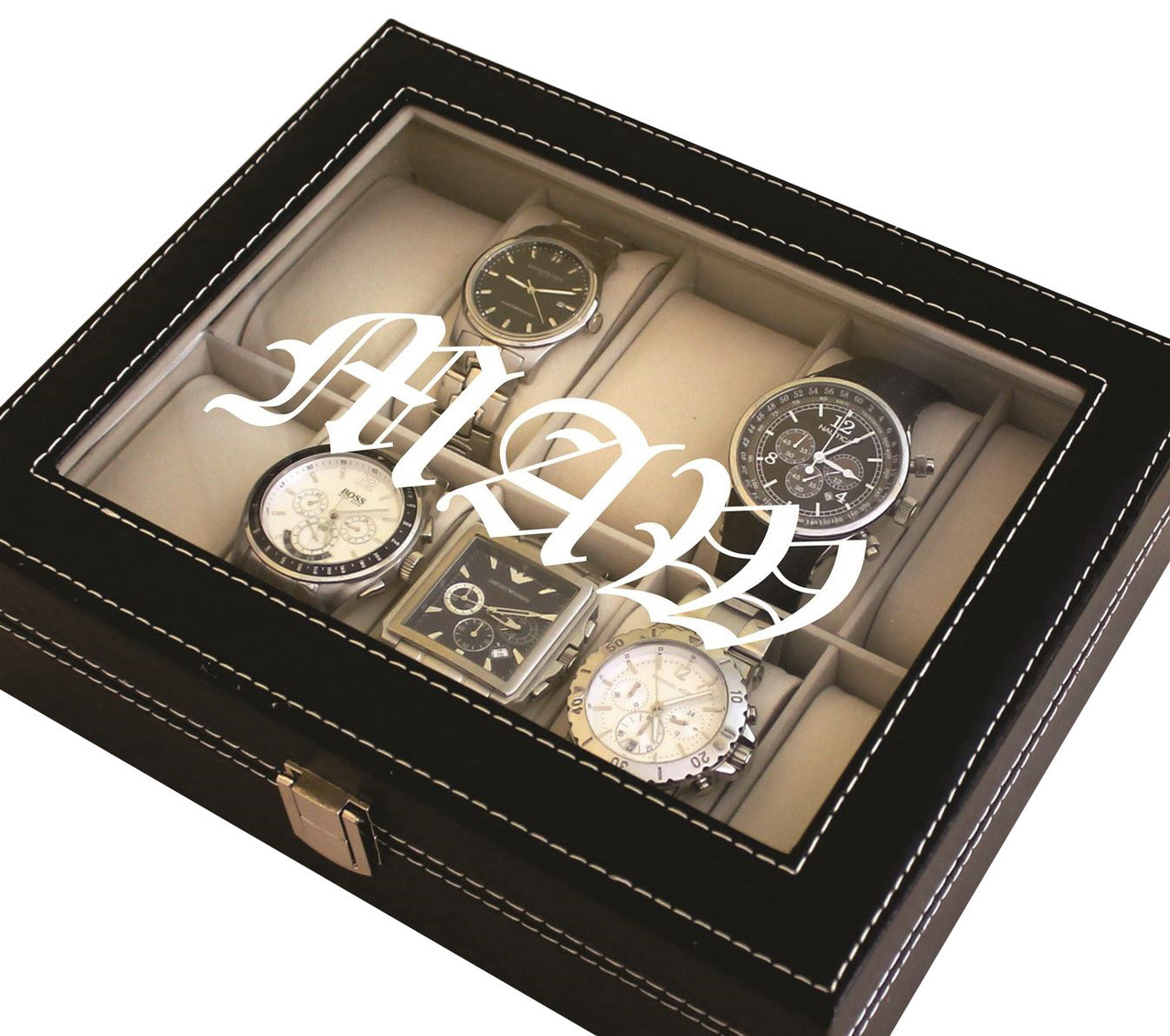 Personalized Black Watch Box
