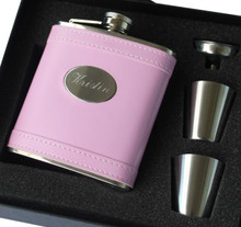 Personalized Pink Leather Flask Set