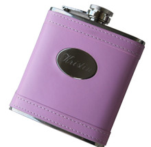 Personalized Pink Leather Flask