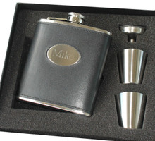 Personalized Black Leather Flask Set