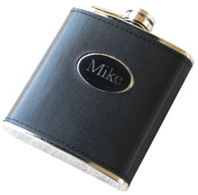 Personalized Black Leather Flask