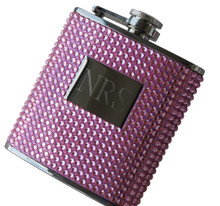 Personalized Pink Bling Flask
