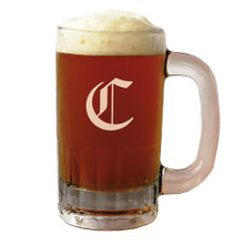 Personalized 12 oz Beer Mug with Initial