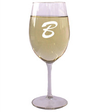 Personalized Red or White Wine Glass with Initial - 18 oz