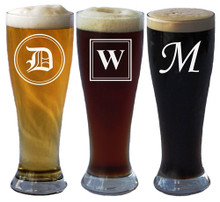 Personalized Pilsner Beer Glass with Initial - 16 oz
