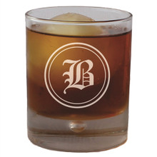 Personalized Round Rocks Glass Tumbler with Initial