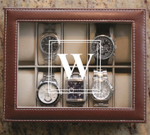 Personalized Brown Watch Box with Initial