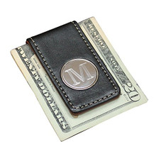 Personalized Money Clip with Black and Brown Leather