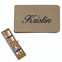 Personalized Manicure Set - Tan Leather - 7 Piece Kit