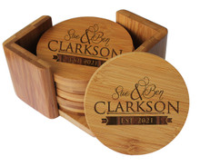 Personalized Bamboo Coasters with Holders - Round 7 Piece Set