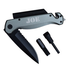 Personalized Gunmetal Survival Rescue Tactical Pocket Knife with Flashlight and more