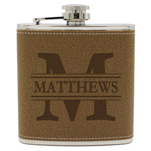 Custom Engraved Leather Flask for Groomsman