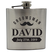 Personalized Silver Groomsmen Flask Sets