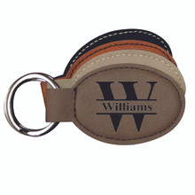 Personalized Leather Key Chain - Round