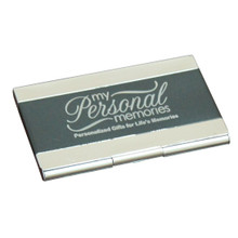 Engraved Metal Black Business Card Case Holder