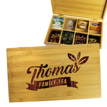 Personalized Bamboo Tea Bag Box Holder