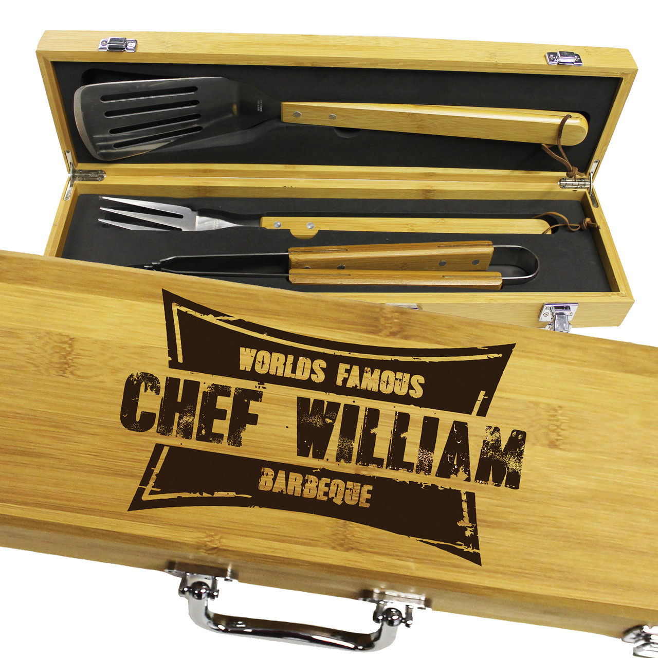 Personalized Gifts For Him 3 Piece Bamboo Bbq Grilling Set