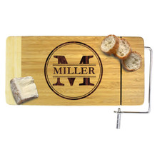Personalized Wood Cheese Board with Slicer