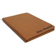 Personalized Leather Portfolio with Zipper