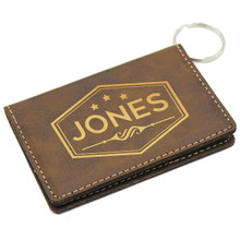 Personalized Leather Wallet Keychain